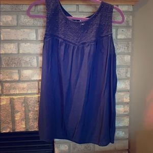 Navy tank with lace yoke detail large